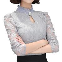 blusa de tops de renda preta venda por atacado-Mulheres Tops de Renda Chemise Femininas Blusas Camisas das Mulheres Plus Size Camisa Cinza Branco Preto Crochet Elegante Blusa