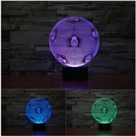 Wholesale Football Led Night Light - 2017 NEW 3D Illusion Lamp Madrid Soccer Colorful Night Lights 3D Visual lights Real Robinho Desk Luminaria Touch Switch Football
