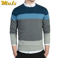 Wholesale Knit Sweaters For Winter Mens - Wholesale- 4Colors 100% Cotton mens sweaters O neck striped sweaters male pullover jersey for man MULS brand autumn winter knitwear MS203