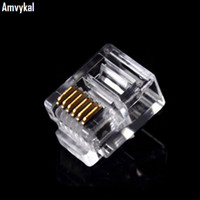 Wholesale Crystal Telephones Wholesale - High Quality RJ-12 6P6C Modular Plug Telephone Phone Connector RJ12 6 Pin 6 Contacts Crystal Head Adapter