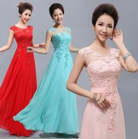 Wholesale Blushing Pink - Cheap Floor-Length Long Lace Red Light Pink Ice Blue Yellow Blush Bridesmaid Dress 2017 hot Prom Party Dress Under 80
