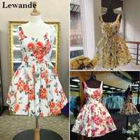 Wholesale Cute Prom Dresses For Juniors - A Line Sweet Floral Print Short Graduation Homecoming Dress for Juniors Lewande 50369 Cute Flower Taffeta V-back Pageant Prom Gown 2017