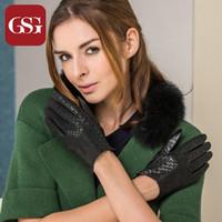 Wholesale Short Leather Gloves For Women - Wholesale- GSG The Fashionable Women Serpentine Short Sheepskin Black TouchScreen Genuine Leather Gloves For Girls Ladies Wrist Mittens