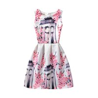 Wholesale Womens Dresses Flowers - Mother and dauther clothes Girls printed lace jacquard vest princess dress 2017 summer new womens flowers dress family clothes T2590