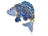 Wholesale Aqua Rhinestone Brooch - Wholesale- Aqua Crystal Rhinestone Enamel Golden Carp Koi Fish Fashion Pin Brooch [Brooches]