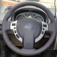 чехлы на рулевое колесо nissan оптовых-Mewant DIY черный искусственная кожа автомобиля рулевое колесо охватывает обернуть для Nissan QASHQAI X-Trail NV200 Rogue Sentra SE-R