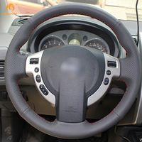nissan lenkradabdeckungen großhandel-Mewant DIY Schwarz Kunstleder Auto Lenkradbezüge Wrap für Nissan QASHQAI X-Trail NV200 Schurke Sentra SE-R