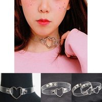 Wholesale Goth Silver Ring - New Fashion Chokers Necklaces Womens Punk Style Goth Love Heart Circle Ring Collar Short Choker Funky Chains Necklace Jewelry For Girls