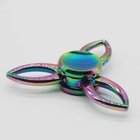 Wholesale Singer Toy - 2017 Rainbow 3 Leaf Edc Fantastic Fidget Spinner Singer Spinner Gyro Toys Novelty Decompression Alloy Toy With Retail Package