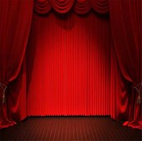 10x10ft Red Curtain Stage Party Backdrops Vinyl Photography Studio Fond d'écran Dark Brown Floor Photo Booth Backdrop for Weddings