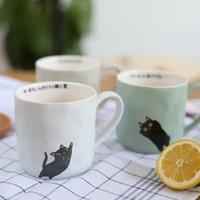 Wholesale Retro Ceramic Fruit - Wholesale- ZAKKA Nordic retro coffee cup Japanese cartoon cat ceramic mug cup for breakfast milk and fruit juice