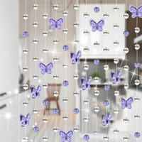 Wholesale Glass Bead Curtains Wholesale - Wholesale- Elegant Waterdrop Butterfly Design Home Crystal Glass Curtain Window Curtain Romantic Wedding Decor Living Room Curtain 1M