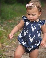 ingrosso cervo di halloween-Mikrdoo Newborn Baby Boy Girl Vestiti Toddler Suit Senza Maniche Cervo Pagliaccetto Bambini Abiti in cotone Set 2 pz Fascia Abbigliamento Top Set All'ingrosso