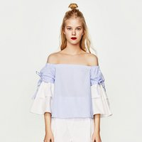 Wholesale Slash Neck Sweet Bandage Navy Striped Top Off Shoulder Harajuku Fashion Kawaii Loose Summer Ropa Mujer Casual Wearing H0261
