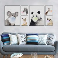 Wholesale Paint Kids Rooms - Nordic Kawaii Animal Bubbles Panda Giraffe Dog Canvas A4 Art Print Poster Nursery Wall Picture Kids Room Decor Painting No Frame