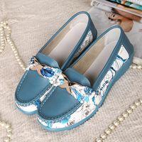 Wholesale Doug Shoes Women - 2017 Summer Women Genuine Leather casual Shoes Woman Flat shoes Flexible Nurse Loafer Flats Doug Maternity shoes