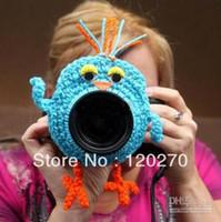 Wholesale Crochet Bird Hats - Halloween Christmas Gifts Bird Photographer Shutter Buddies Pet Animal Hat Camera Lens Crochet Knitted Lens Toys Newborn Photography Props