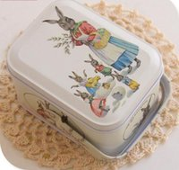 Wholesale Wholesale Decorative Containers - Easter Style Peter Rabbit Tin Box With Arched Lid For Cookie Candy Macaron Storage Gift Packing Decorative Container 10Pcs Lot