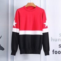 Wholesale Heart Print Sweater - 2017 Autumn and winter new knitted stripes embroidered Treated Angry Cat Pierced Heart sweater uniform style of men and women sweater 815