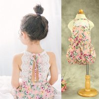 Wholesale Toddler Baby Floral Lace Rompers One piece Halter Cotton Cute Kids Girls Summer Romper Mix Color