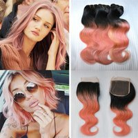 Wholesale Two Toned Lace Top Closure - Two Tone 1B Rose Gold Ombre Virgin Hair 3 Bundles With Lace Closure Peruvian Human Hair Ombre Body Wave Weaves With Top Closure