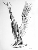 Wholesale naked fake - Wholesale- Sexy naked angel temporary tattoo sticker for men women body Sketches tattoos waterproof Sketch pencil drawing art fake tattoo
