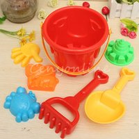 Wholesale Plastic Bucket Beach Toys - Wholesale- Funny Hot Sale 7 pcs Winter Summer Seaside Beach Toy Child Spade Rake Bucket Kit Sand Snow Building Molds for kids Funny Gift