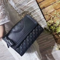 Wholesale hot box covers - 2018 new lady fashion hot woman handbag letter T design chain leather crossbody covertible Diamond Lattice shoulder top flap bag with box