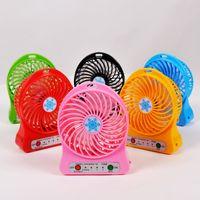 bateria mini cooler box venda por atacado-Mini Protable Fan Multifuncional USB Recarregável Crianças Tabela Ventilador de Luz LED 18650 Bateria Ajustável 3 Velocidade de Neve fresco Multi Cor Com Caixa