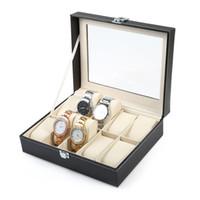 Wholesale Leatherette Jewelry Display Wholesale - PU Leather 10 Slots Wrist Watch Display Box Bracelet Jewelry Storage Holder Organizer Case Wrisstwatches Collection Box