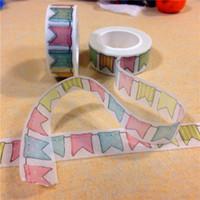 Wholesale Japanese Style Washi Masking Tape - Wholesale- 2016 1.5CM Wide Colorful Flags Washi Tape Scrapbooking Decorative Paper Tape Japanese Style Masking Tape Adhesivos for Kids