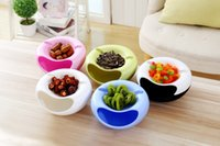 Wholesale Plastic Fruit Dish - 2017 new Creative Lazy Fruit Dish Snacks Nut Melon Seeds Bowl Double Layer Plastic Candy Plate Peels Shells Storage Tray Desk Home Decor