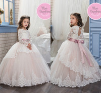 Wholesale Halloween Light Up Shirts - 2017 Sheer Long Sleeve Jewel Neck Lace Flower Girl's Dresses Open Back Lace Up Ball Gown Tulle First Communion Dresses Kid's Formal Wear