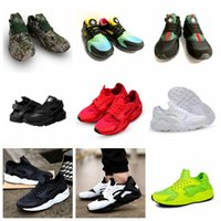 Wholesale Pink Women Trainers - Huarache Boost Rainbow Black White Pink Blue Army Green Running Shoes For Men Women Huaraches Athletic Sport Shoes Trainers Sneakers