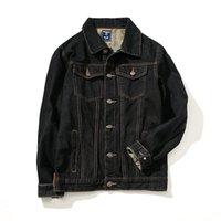 chaquetas de jean negro hombres al por mayor-Nuevas llegadas de los hombres chaqueta de mezclilla ocasional delgado Jean Chaqueta de prendas de vestir exteriores de moda negro abrigos 7XL