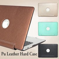 Wholesale Cover Macbook Logo - Onepiece Pu Leather Laptop Sleeve Hard Case Cover with hole logo cut-out for Macbook Air Pro display Retina 11 12 13 15