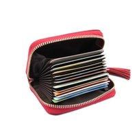 Trendy Akkordeon Plaid Notizblock Kurz Design Echtes Rindsleder Brieftasche Orgel Zipper Business ID Kreditkartenetuis für Frauen