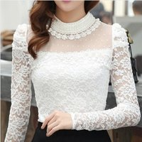 Wholesale Sexy Pearl Blouse - Plus size M-XXL Blouse 2016 New fashion Women's Stand Pearl Collar Lace Crochet Blouses Shirts Long Sleeve Sexy Tops For Women