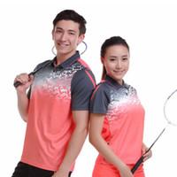 Wholesale Wholesale Team Sportswear - 2017 Badminton Shirt Sportswear Quick Dry Breathable Women Men Table Tennis Clothes Team Game Short Sleeve POLO T Shirts