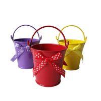 Wholesale Decorative Buckets Wedding - Wholesale Decorative pot 7*7cm Wedding favor bowknot design bucket tin box Iron pots Easter eggs pots