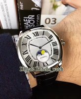 Wholesale Drive Clone - Super Clone Luxury Brand DRIVE DE 42mm Moon Phase Automatic White Dial Mens Watch High Quality Leather Strap Cheap New Gent Watch+Gift Box