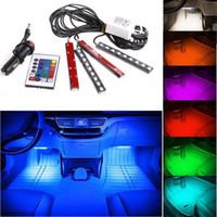 12 tira flexível led venda por atacado-20 conjuntos de 12 V Flexível Car Styling RGB LED Luz de Tira Atmosfera Decoração Lâmpada Interior Do Carro Luz de Néon com Controlador Isqueiro