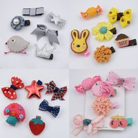 Wholesale Children hair clip set set Kids hair accessories Cute Felt Animals Cartoon Baby Barrettes Girls Hair Pin bows Good quality color