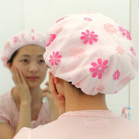 Wholesale Snowflakes Wrap - Snowflake Love Shower Cap Thickening Double Deck Waterproof Fast Dry Hair Caps Hairs Protective Hat Wrap Hats 0 95yl C R