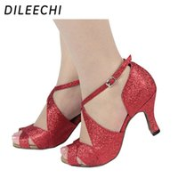 Wholesale TOP Sneakers DILEECHI Red black gold flash Women s Latin dance shoes High heeled cm Female square dance shoes soft outsole more colours