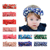 Wholesale Lace Bunny Ears Headband - Christmas Toddler Bow Headbands Bunny Ear Hairbands for girls Children Hair Accessories Infants Xmas Printed Headwrap