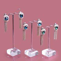 Wholesale Wholesale Jewelry Tree Stands - 3pcs Set Clear Acrylic Fashion Jewelry Display Metal Earrings Holder Rack Dangle Tree