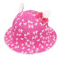 Wholesale Ear Domes - Wholesale 5 pcs Girls Dome Bucket Hats Baby Child Butterfly Print Fisherman Ear Caps Spring Summer Sun Protective Hat MZ4636
