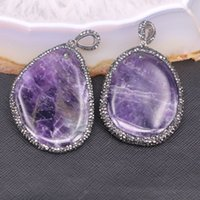 Wholesale Amethyst Freeform - 3pcs Nature Amethyst Stone Pendant with Pave Crystal Zircon Purple Gemstone Jewelry Freeform