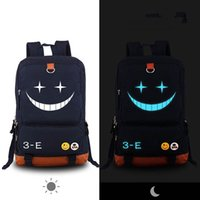 сумка японский аниме оптовых-Wholesale- Black Japan Anime Assassination Classroom Backpack Kyoushitsu cosplay Knapsack Canvas Luminous Schoolbag Unisex Travel Bags s106